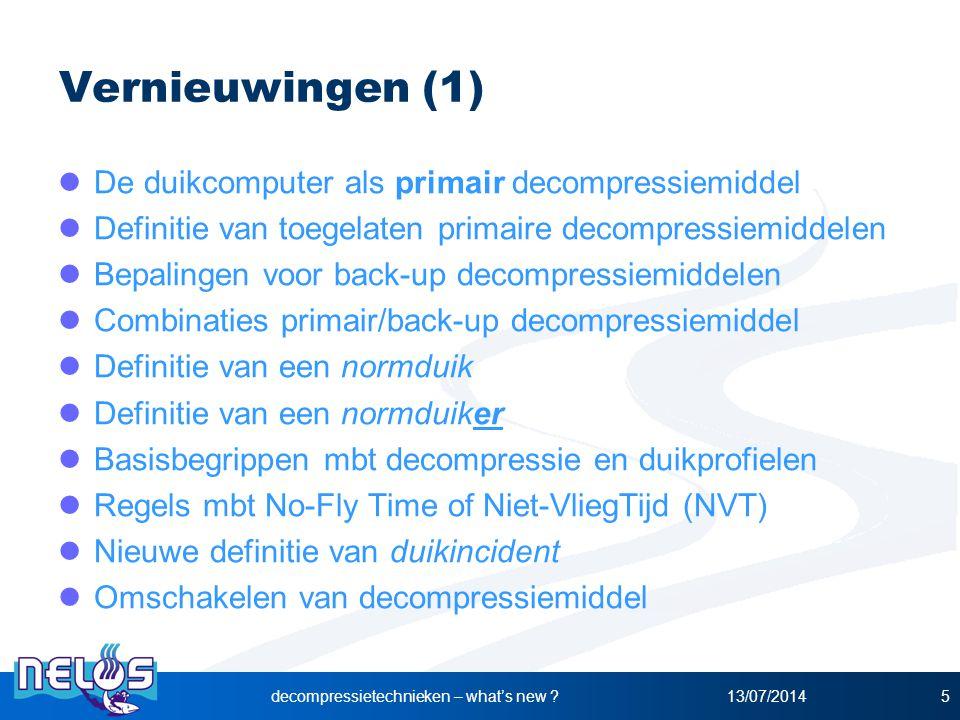 13/07/2014decompressietechnieken – what's new ?5 Vernieuwingen (1) De duikcomputer als primair decompressiemiddel Definitie van toegelaten primaire de