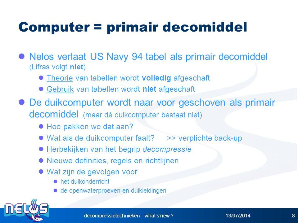 13/07/2014decompressietechnieken – what's new ?8 Computer = primair decomiddel Nelos verlaat US Navy 94 tabel als primair decomiddel (Lifras volgt nie