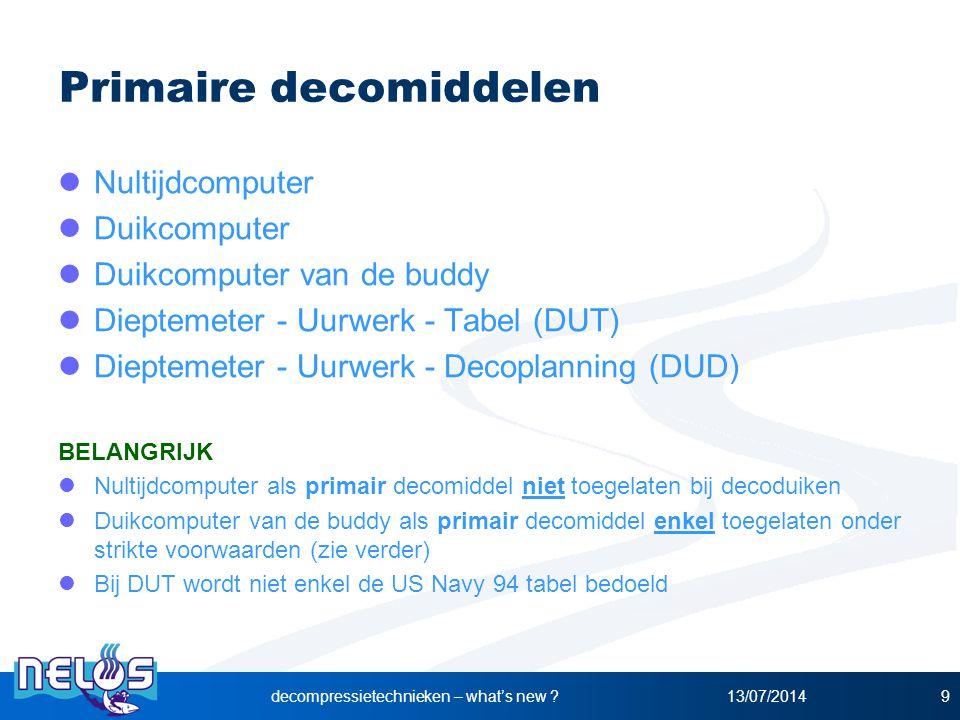 13/07/2014decompressietechnieken – what's new ?9 Primaire decomiddelen Nultijdcomputer Duikcomputer Duikcomputer van de buddy Dieptemeter - Uurwerk -