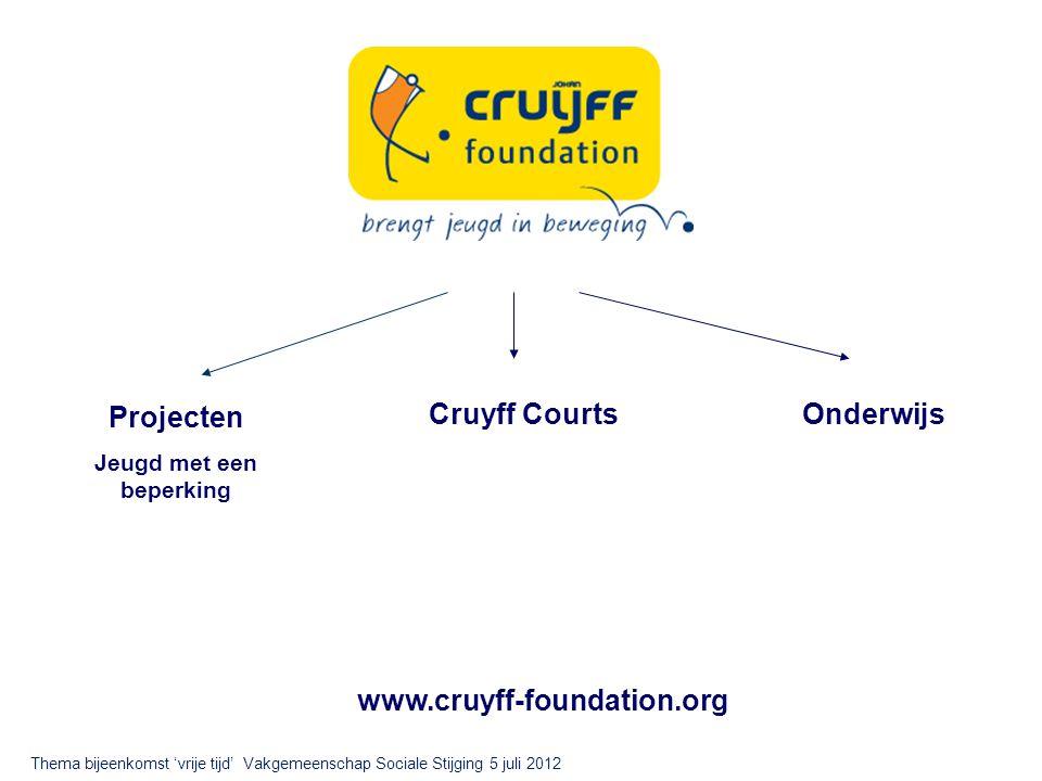 Projecten Jeugd met een beperking Cruyff CourtsOnderwijs www.cruyff-foundation.org Thema bijeenkomst 'vrije tijd' Vakgemeenschap Sociale Stijging 5 juli 2012