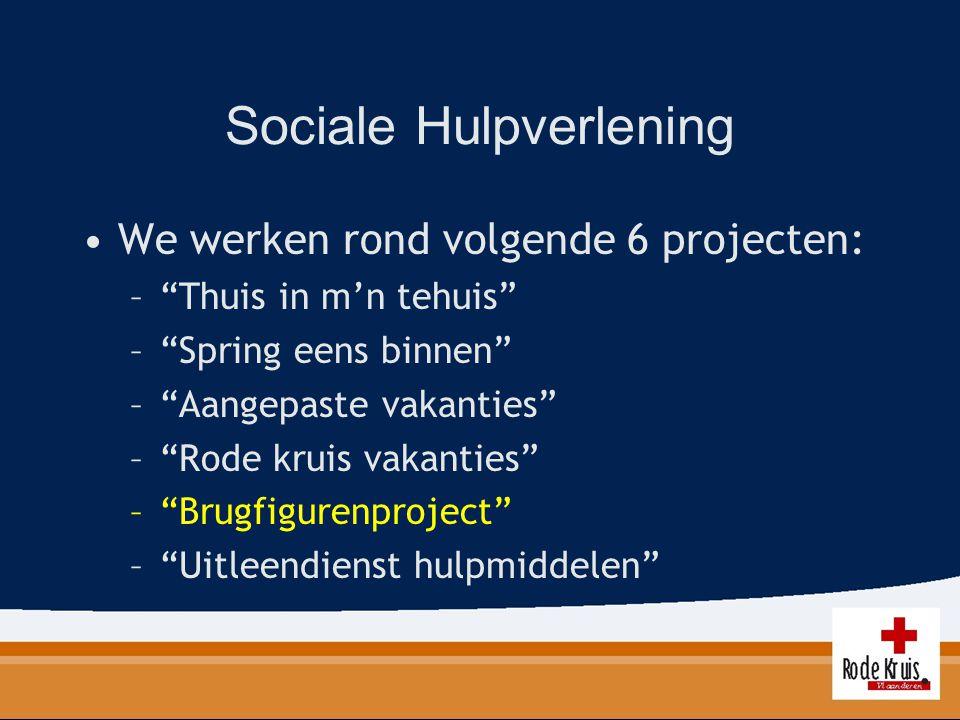 """Sociale Hulpverlening We werken rond volgende 6 projecten: –""""Thuis in m'n tehuis"""" –""""Spring eens binnen"""" –""""Aangepaste vakanties"""" –""""Rode kruis vakanties"""
