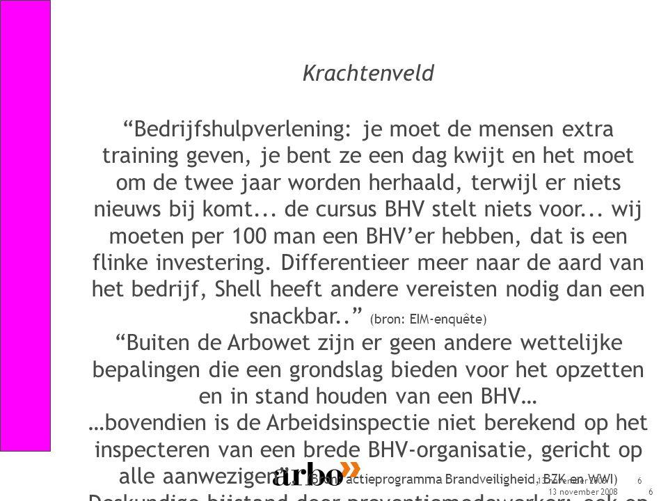 13 november 20086 Krachtenveld Bedrijfshulpverlening: je moet de mensen extra training geven, je bent ze een dag kwijt en het moet om de twee jaar worden herhaald, terwijl er niets nieuws bij komt...