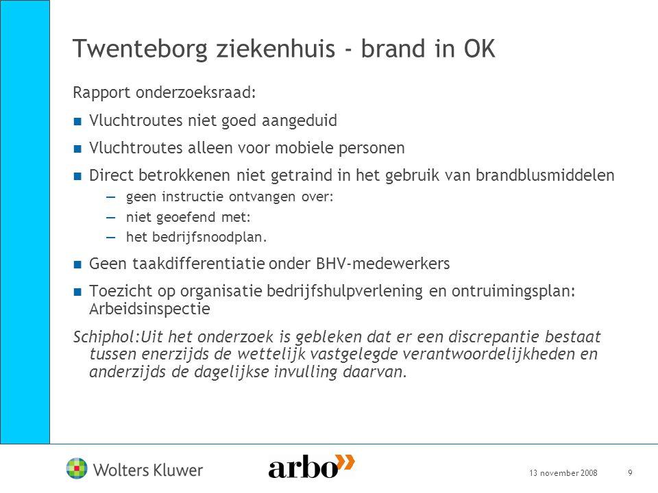 13 november 20089 Twenteborg ziekenhuis - brand in OK Rapport onderzoeksraad: Vluchtroutes niet goed aangeduid Vluchtroutes alleen voor mobiele person