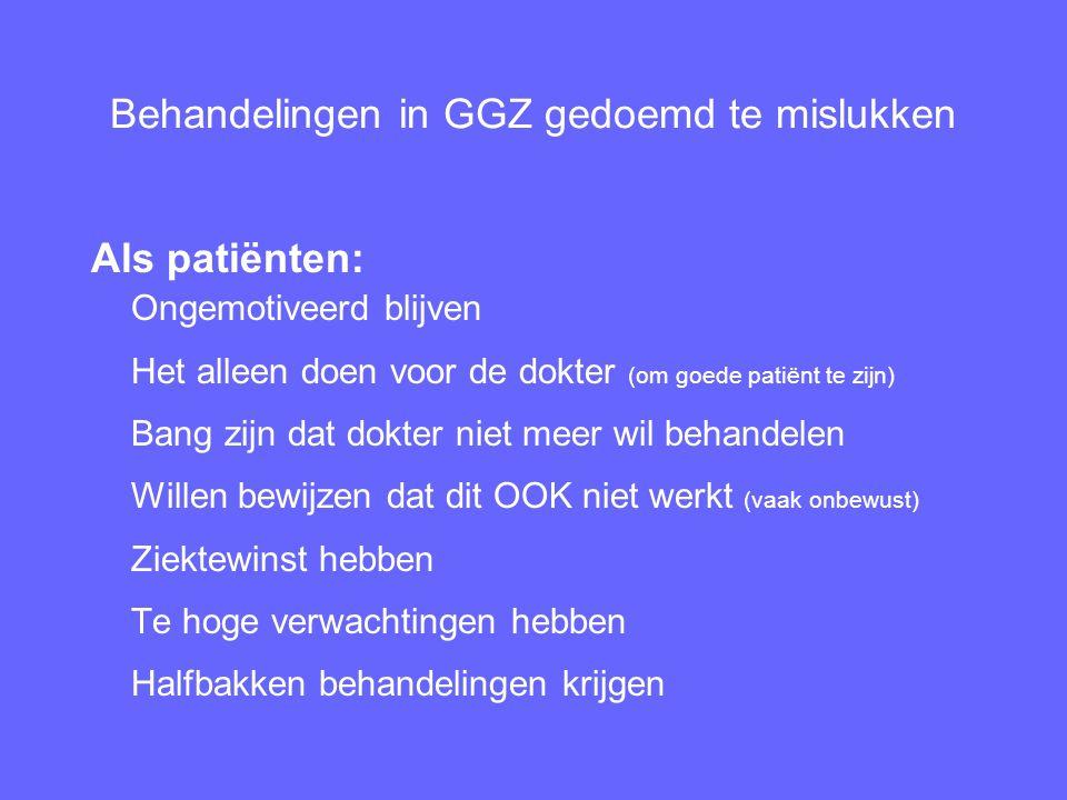 Behandelingen in GGZ gedoemd te mislukken Als patiënten: Ongemotiveerd blijven Het alleen doen voor de dokter (om goede patiënt te zijn) Bang zijn dat