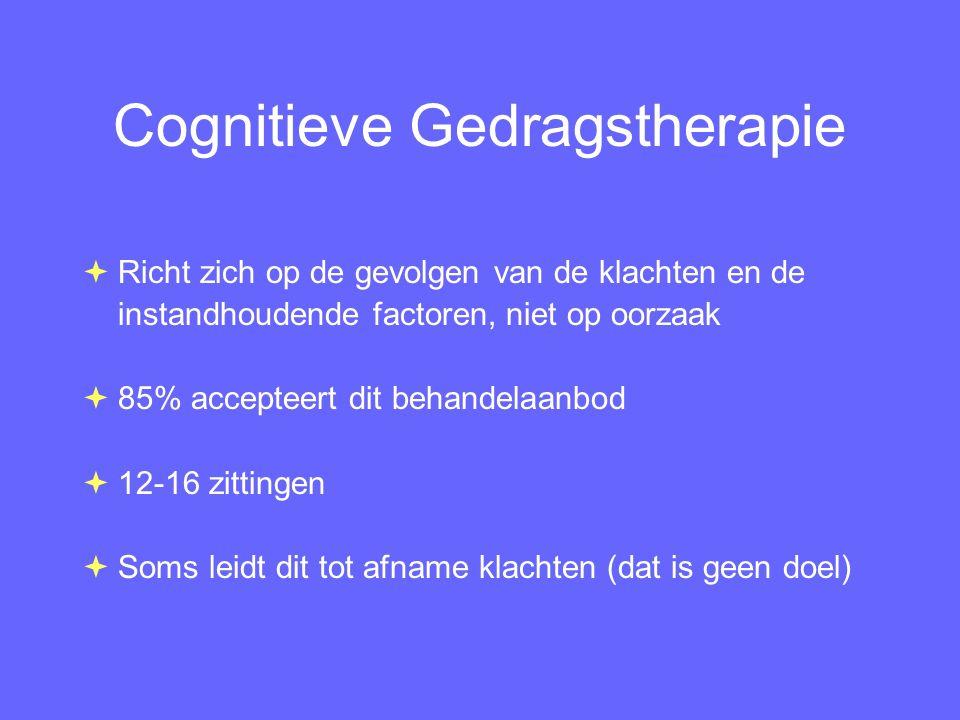 Cognitieve Gedragstherapie  Richt zich op de gevolgen van de klachten en de instandhoudende factoren, niet op oorzaak  85% accepteert dit behandelaa