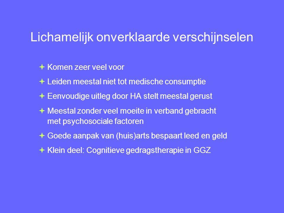 Lichamelijk onverklaarde verschijnselen  Komen zeer veel voor  Leiden meestal niet tot medische consumptie  Eenvoudige uitleg door HA stelt meestal