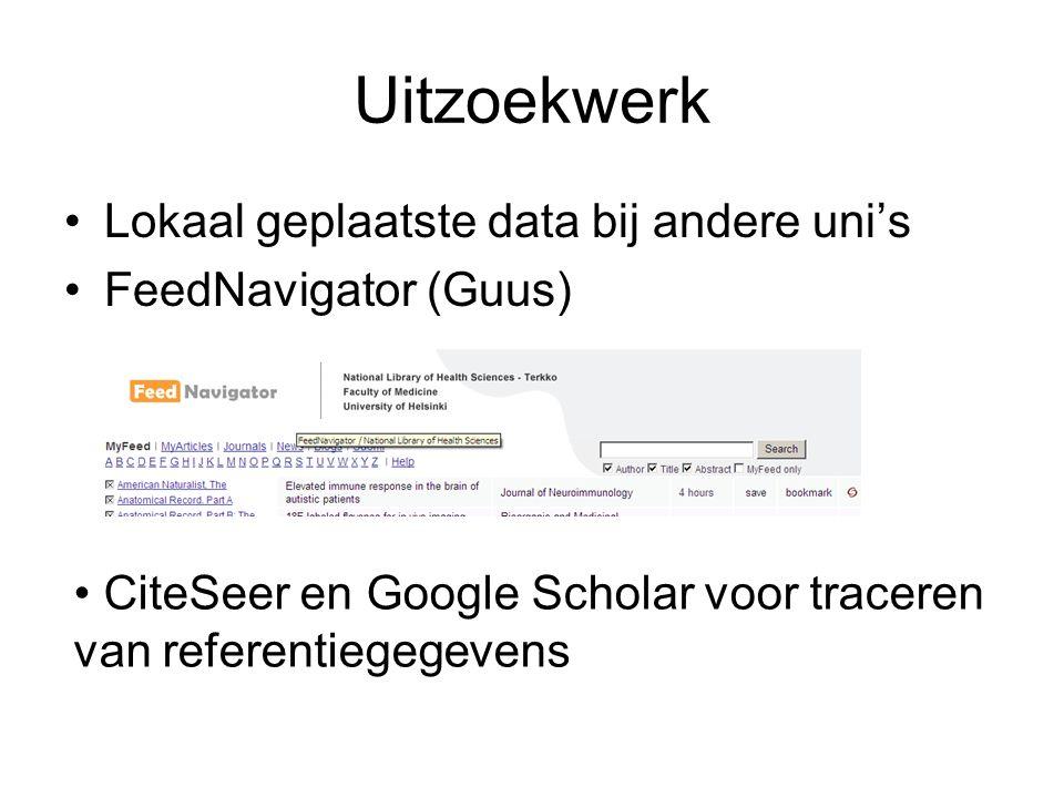 Uitzoekwerk Lokaal geplaatste data bij andere uni's FeedNavigator (Guus) CiteSeer en Google Scholar voor traceren van referentiegegevens