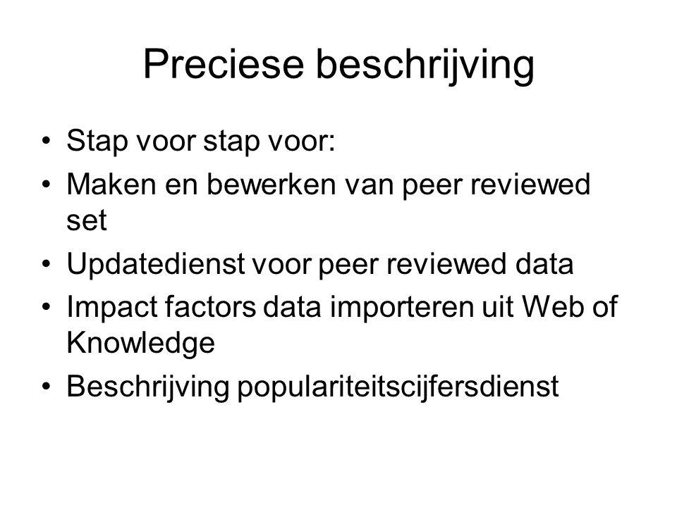 Preciese beschrijving Stap voor stap voor: Maken en bewerken van peer reviewed set Updatedienst voor peer reviewed data Impact factors data importeren uit Web of Knowledge Beschrijving populariteitscijfersdienst