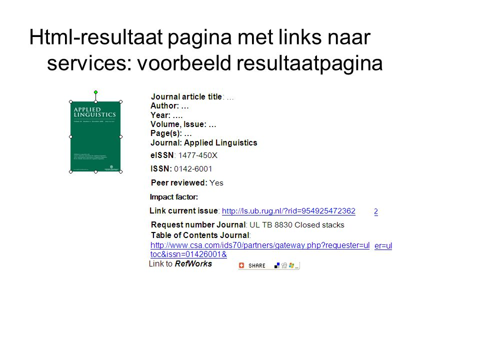 Html-resultaat pagina met links naar services: voorbeeld resultaatpagina