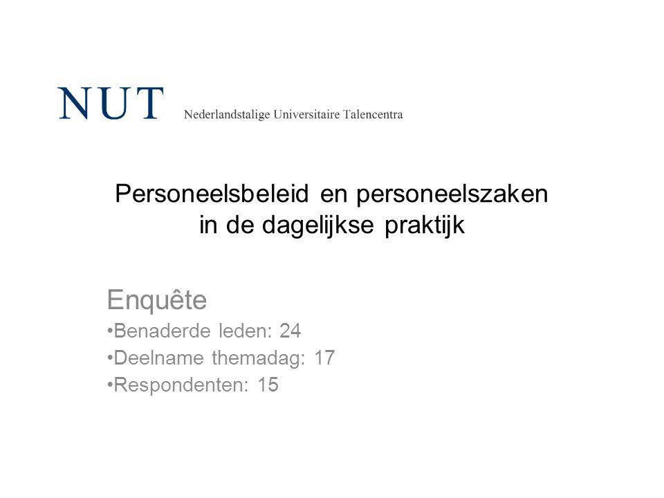 Personeelsbeleid en personeelszaken in de dagelijkse praktijk Enquête Benaderde leden: 24 Deelname themadag: 17 Respondenten: 15