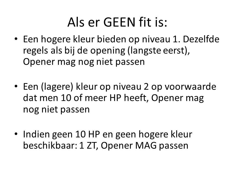 Als er GEEN fit is: Een hogere kleur bieden op niveau 1. Dezelfde regels als bij de opening (langste eerst), Opener mag nog niet passen Een (lagere) k