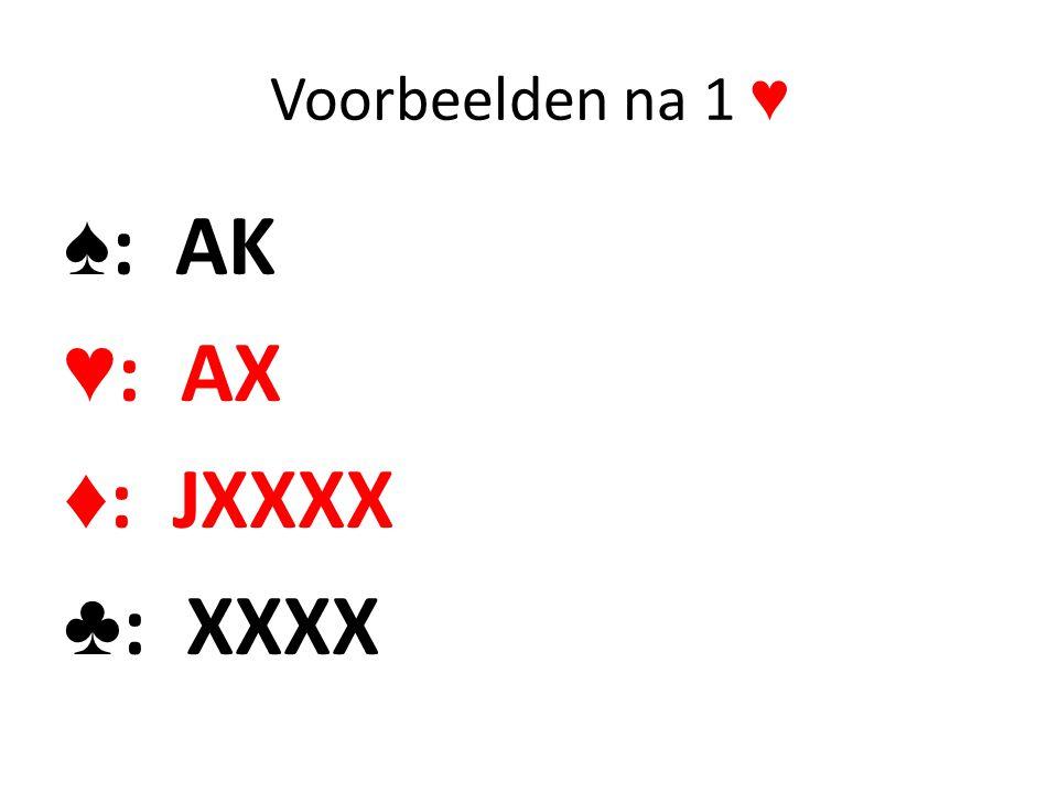 Voorbeelden na 1 ♥ ♠ : AK ♥ : AX ♦ : JXXXX ♣ : XXXX