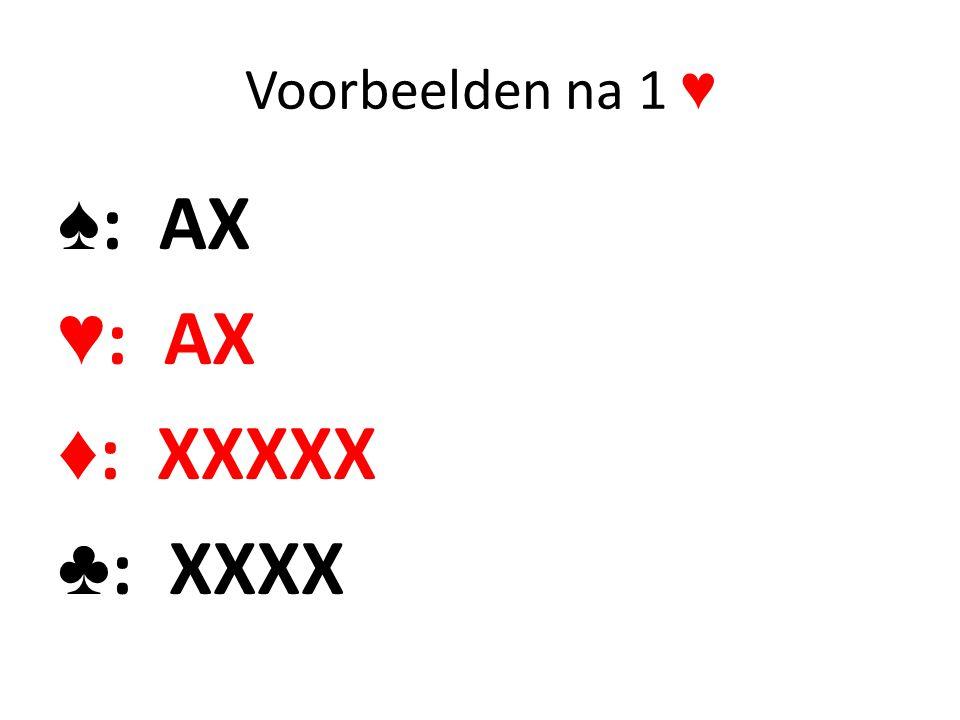 Voorbeelden na 1 ♥ ♠ : AX ♥ : AX ♦ : XXXXX ♣ : XXXX