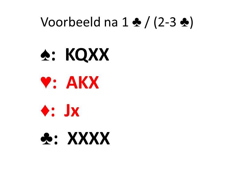 Voorbeeld na 1 ♣ / (2-3 ♣ ) ♠ : KQXX ♥ : AKX ♦ : Jx ♣ : XXXX