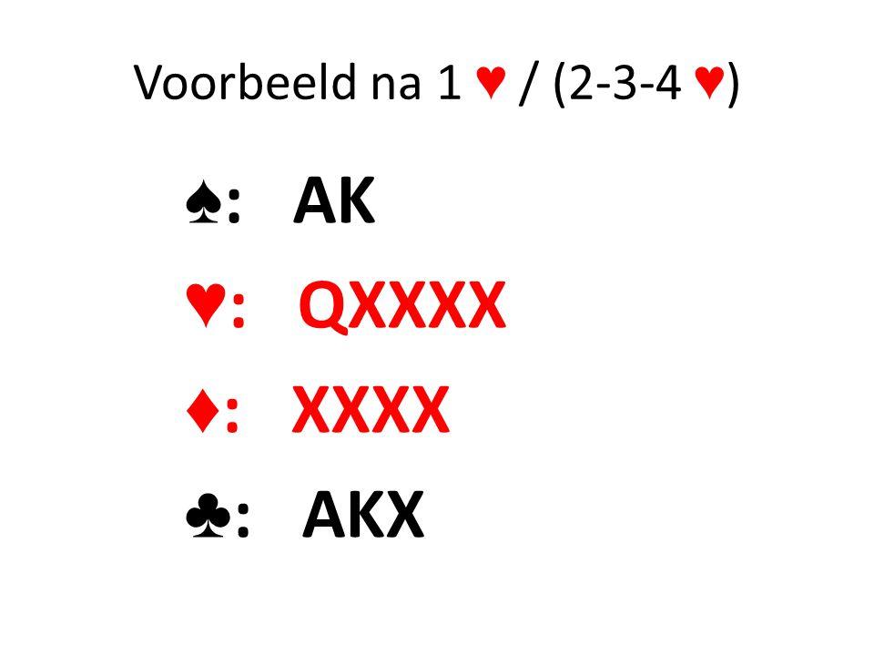 Voorbeeld na 1 ♥ / (2-3-4 ♥ ) ♠ : AK ♥ : QXXXX ♦ : XXXX ♣ : AKX