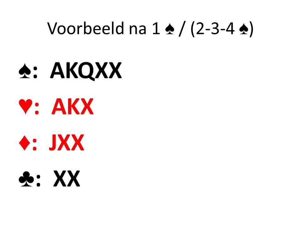 Voorbeeld na 1 ♠ / (2-3-4 ♠ ) ♠ : AKQXX ♥ : AKX ♦ : JXX ♣ : XX