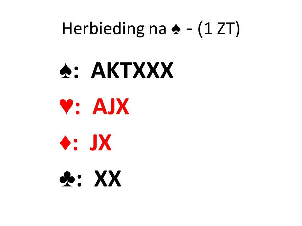 Herbieding na ♠ - ( 1 ZT) ♠ : AKTXXX ♥ : AJX ♦ : JX ♣ : XX