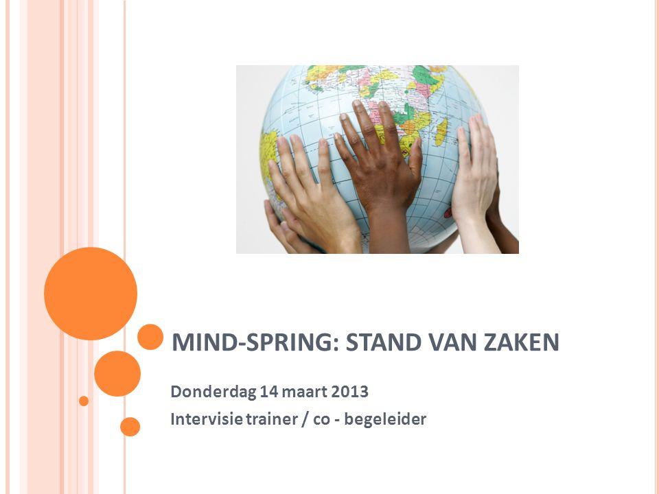 MIND-SPRING: STAND VAN ZAKEN Donderdag 14 maart 2013 Intervisie trainer / co - begeleider