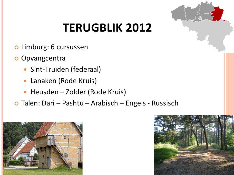 TERUGBLIK 2012 Limburg: 6 cursussen Opvangcentra Sint-Truiden (federaal) Lanaken (Rode Kruis) Heusden – Zolder (Rode Kruis) Talen: Dari – Pashtu – Arabisch – Engels - Russisch