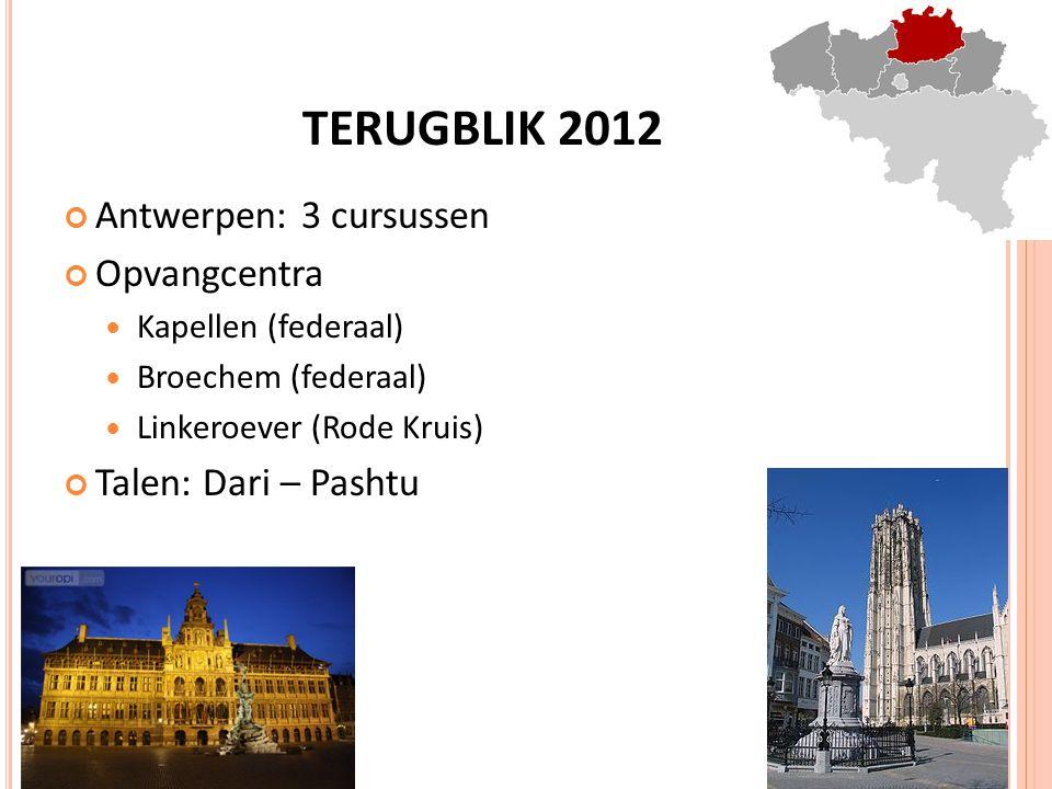 TERUGBLIK 2012 Antwerpen: 3 cursussen Opvangcentra Kapellen (federaal) Broechem (federaal) Linkeroever (Rode Kruis) Talen: Dari – Pashtu