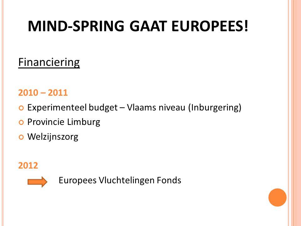 EUROPEES VLUCHTELINGENFONDS MIND-SPRING Financiering tot december 2014 door EVF Vlaams project.