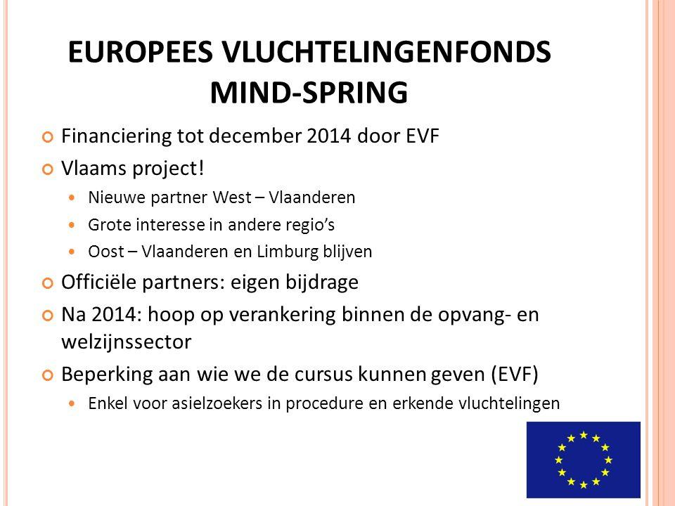 EUROPEES VLUCHTELINGENFONDS MIND-SPRING Financiering tot december 2014 door EVF Vlaams project! Nieuwe partner West – Vlaanderen Grote interesse in an