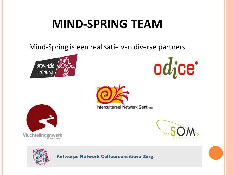 MIND-SPRING TEAM Start: Limburg en Oost – Vlaanderen 2012: West – Vlaanderen als officiële partner Grote interesse in Antwerpen en Vlaams - Brabant