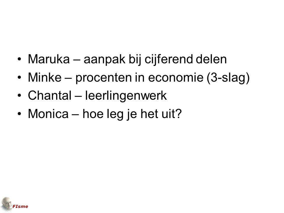Maruka – aanpak bij cijferend delen Minke – procenten in economie (3-slag) Chantal – leerlingenwerk Monica – hoe leg je het uit?