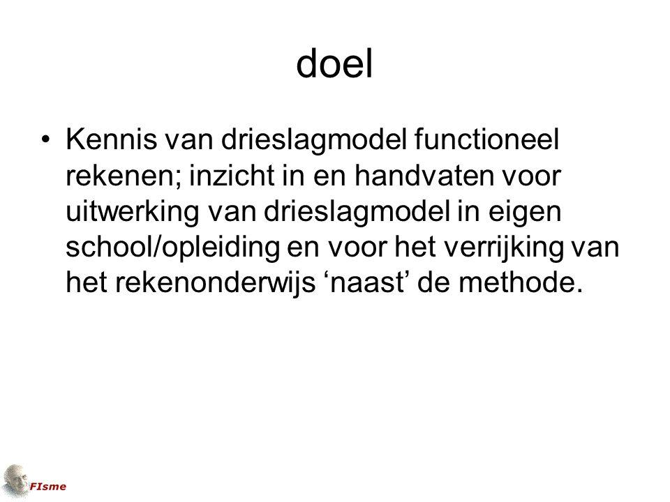 doel Kennis van drieslagmodel functioneel rekenen; inzicht in en handvaten voor uitwerking van drieslagmodel in eigen school/opleiding en voor het verrijking van het rekenonderwijs 'naast' de methode.