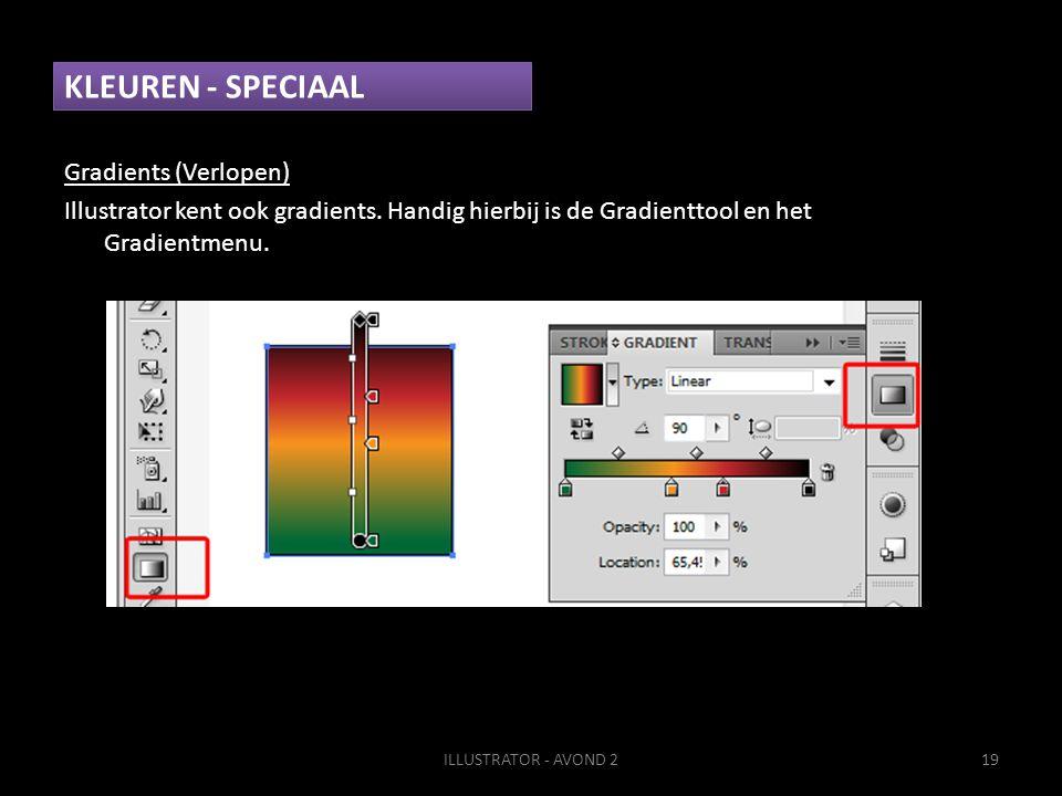 KLEUREN - SPECIAAL Gradients (Verlopen) Illustrator kent ook gradients.