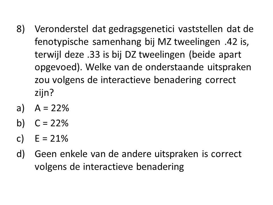 8) Veronderstel dat gedragsgenetici vaststellen dat de fenotypische samenhang bij MZ tweelingen.42 is, terwijl deze.33 is bij DZ tweelingen (beide apa