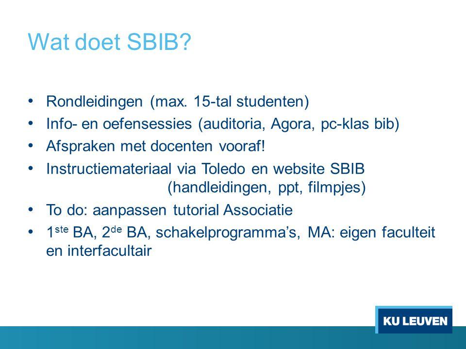 Wat doet SBIB. Rondleidingen (max.
