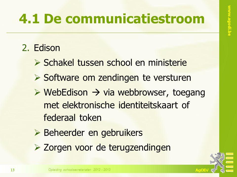 www.agodi.be AgODi 4.1 De communicatiestroom 2.Edison  Schakel tussen school en ministerie  Software om zendingen te versturen  WebEdison  via web