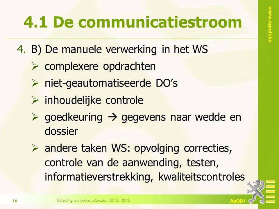 www.agodi.be AgODi 4.1 De communicatiestroom 4.B) De manuele verwerking in het WS  complexere opdrachten  niet-geautomatiseerde DO's  inhoudelijke