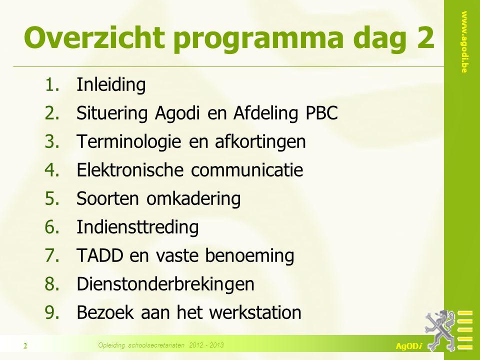 www.agodi.be AgODi Overzicht programma dag 2 1.Inleiding 2.Situering Agodi en Afdeling PBC 3.Terminologie en afkortingen 4.Elektronische communicatie