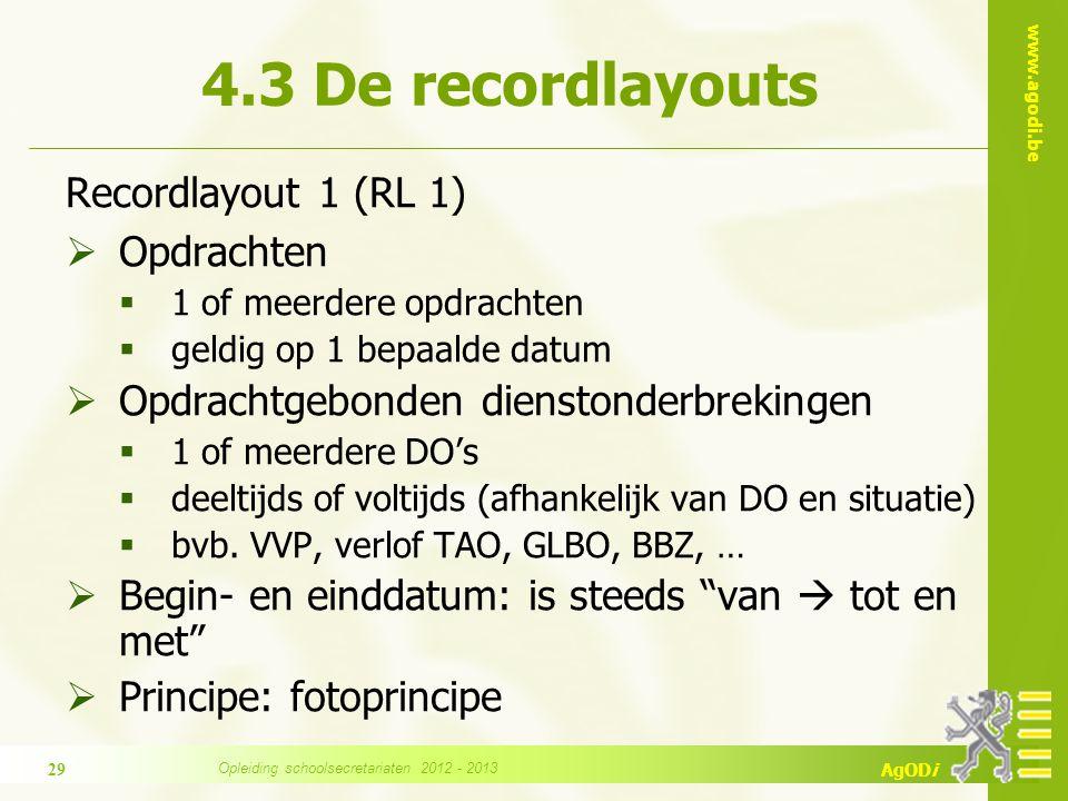 www.agodi.be AgODi Recordlayout 1 (RL 1)  Opdrachten  1 of meerdere opdrachten  geldig op 1 bepaalde datum  Opdrachtgebonden dienstonderbrekingen  1 of meerdere DO's  deeltijds of voltijds (afhankelijk van DO en situatie)  bvb.