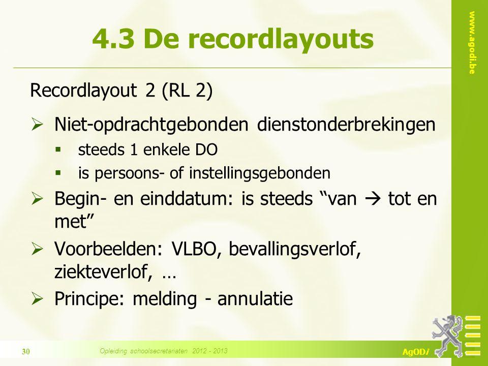 www.agodi.be AgODi Recordlayout 2 (RL 2)  Niet-opdrachtgebonden dienstonderbrekingen  steeds 1 enkele DO  is persoons- of instellingsgebonden  Beg