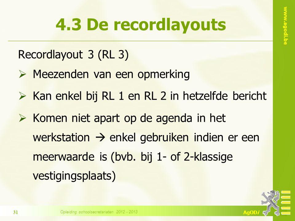 www.agodi.be AgODi Recordlayout 3 (RL 3)  Meezenden van een opmerking  Kan enkel bij RL 1 en RL 2 in hetzelfde bericht  Komen niet apart op de agenda in het werkstation  enkel gebruiken indien er een meerwaarde is (bvb.