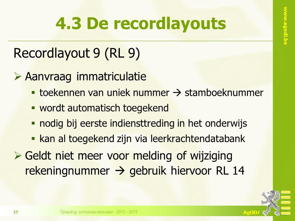 www.agodi.be AgODi Recordlayout 9 (RL 9)  Aanvraag immatriculatie  toekennen van uniek nummer  stamboeknummer  wordt automatisch toegekend  nodig