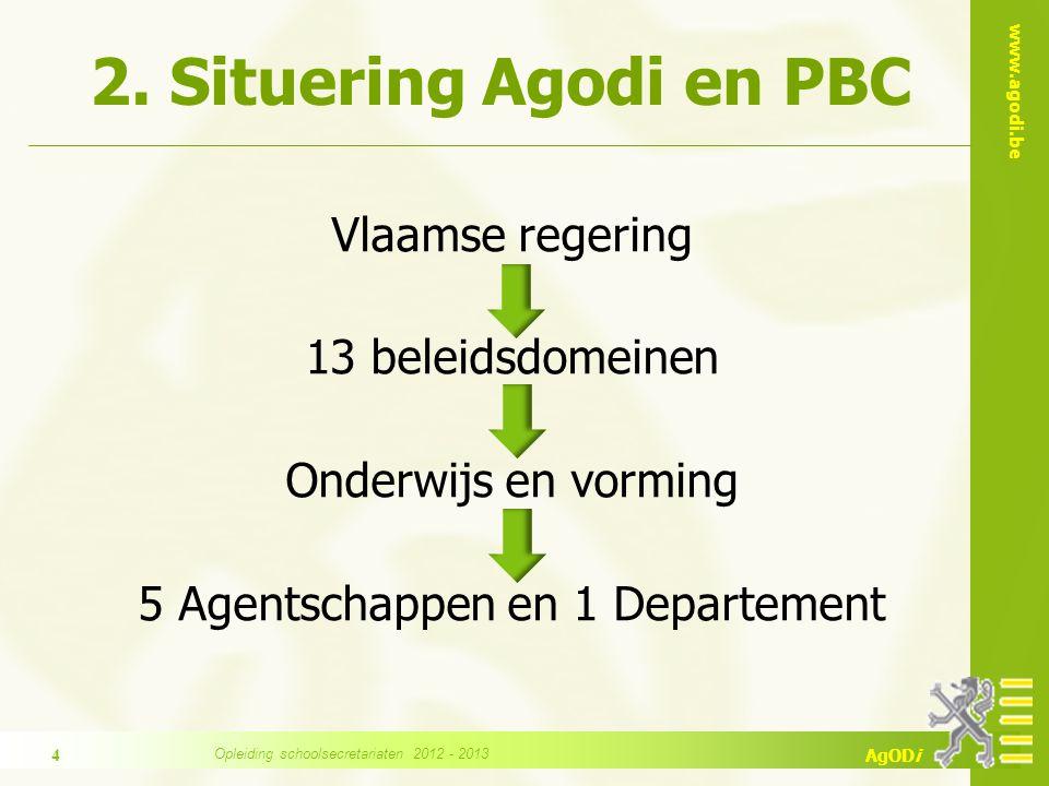 www.agodi.be AgODi 2. Situering Agodi en PBC Vlaamse regering 13 beleidsdomeinen Onderwijs en vorming 5 Agentschappen en 1 Departement 4 Opleiding sch