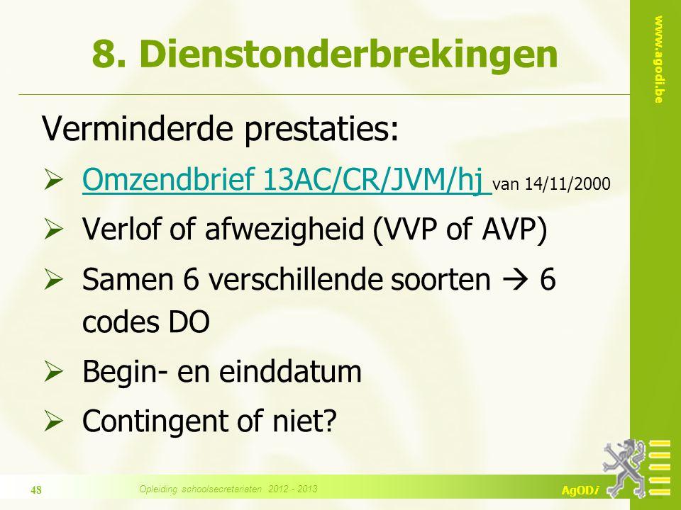 www.agodi.be AgODi 8. Dienstonderbrekingen Verminderde prestaties:  Omzendbrief 13AC/CR/JVM/hj van 14/11/2000 Omzendbrief 13AC/CR/JVM/hj  Verlof of