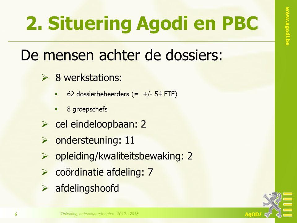 www.agodi.be AgODi 2. Situering Agodi en PBC De mensen achter de dossiers:  8 werkstations:  62 dossierbeheerders (= +/- 54 FTE)  8 groepschefs  c