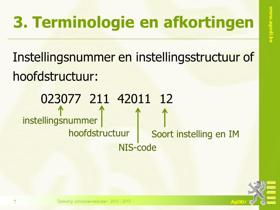 www.agodi.be AgODi 3. Terminologie en afkortingen Instellingsnummer en instellingsstructuur of hoofdstructuur: 023077 211 42011 12 instellingsnummer h