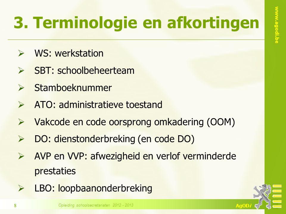 www.agodi.be AgODi 3. Terminologie en afkortingen  WS: werkstation  SBT: schoolbeheerteam  Stamboeknummer  ATO: administratieve toestand  Vakcode
