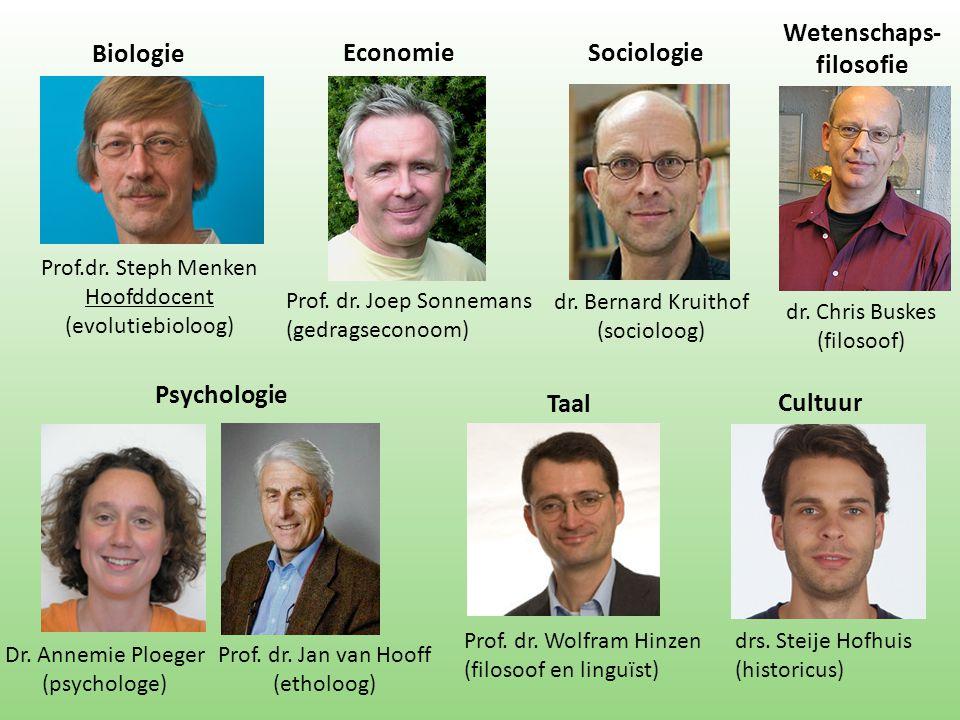 Biologie Prof.dr. Steph Menken Hoofddocent (evolutiebioloog) Prof. dr. Joep Sonnemans (gedragseconoom) Dr. Annemie Ploeger (psychologe) Prof. dr. Jan
