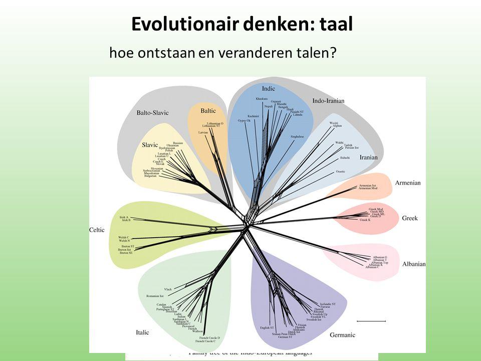hoe ontstaan en veranderen talen? Evolutionair denken: taal