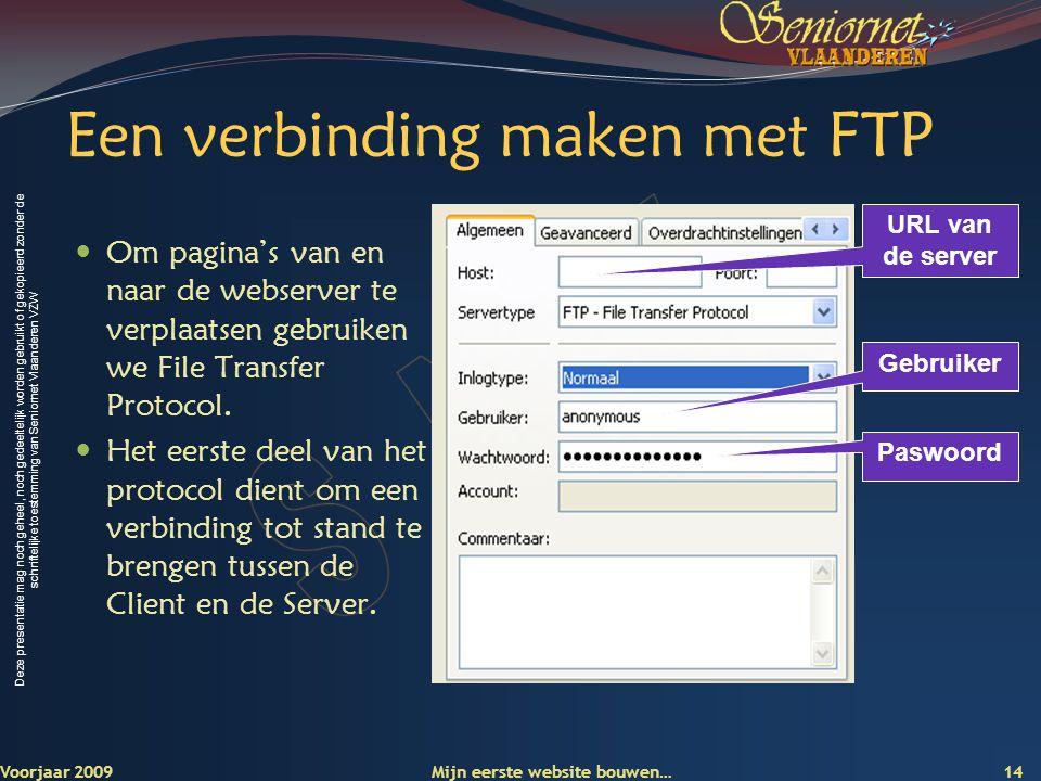Deze presentatie mag noch geheel, noch gedeeltelijk worden gebruikt of gekopieerd zonder de schriftelijke toestemming van Seniornet Vlaanderen VZW Een verbinding maken met FTP Om pagina's van en naar de webserver te verplaatsen gebruiken we File Transfer Protocol.
