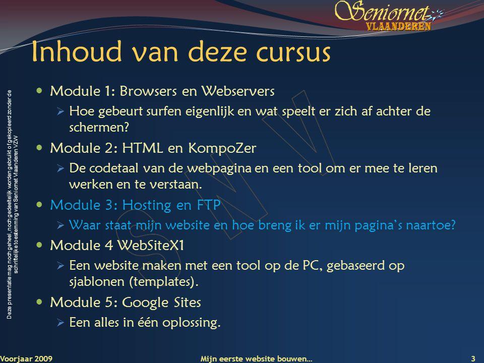 Deze presentatie mag noch geheel, noch gedeeltelijk worden gebruikt of gekopieerd zonder de schriftelijke toestemming van Seniornet Vlaanderen VZW Module 3 Hosting en FTP