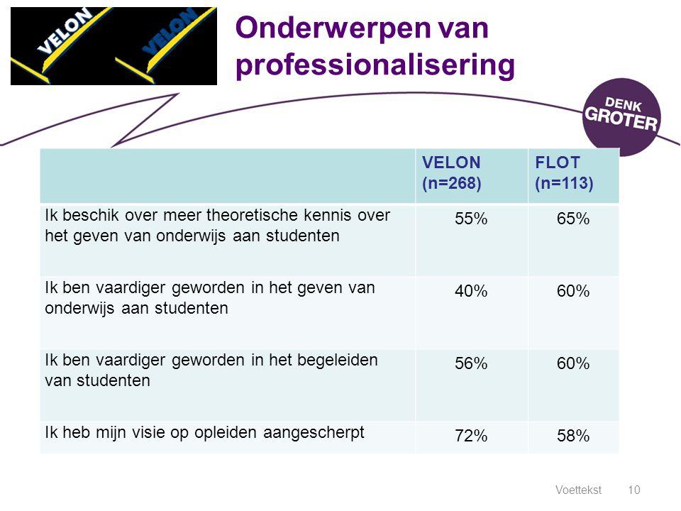 Voettekst10 Onderwerpen van professionalisering VELON (n=268) FLOT (n=113) Ik beschik over meer theoretische kennis over het geven van onderwijs aan s