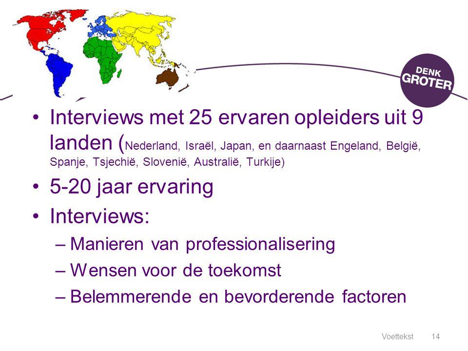 Voettekst14 Interviews met 25 ervaren opleiders uit 9 landen ( Nederland, Israël, Japan, en daarnaast Engeland, België, Spanje, Tsjechië, Slovenië, Au